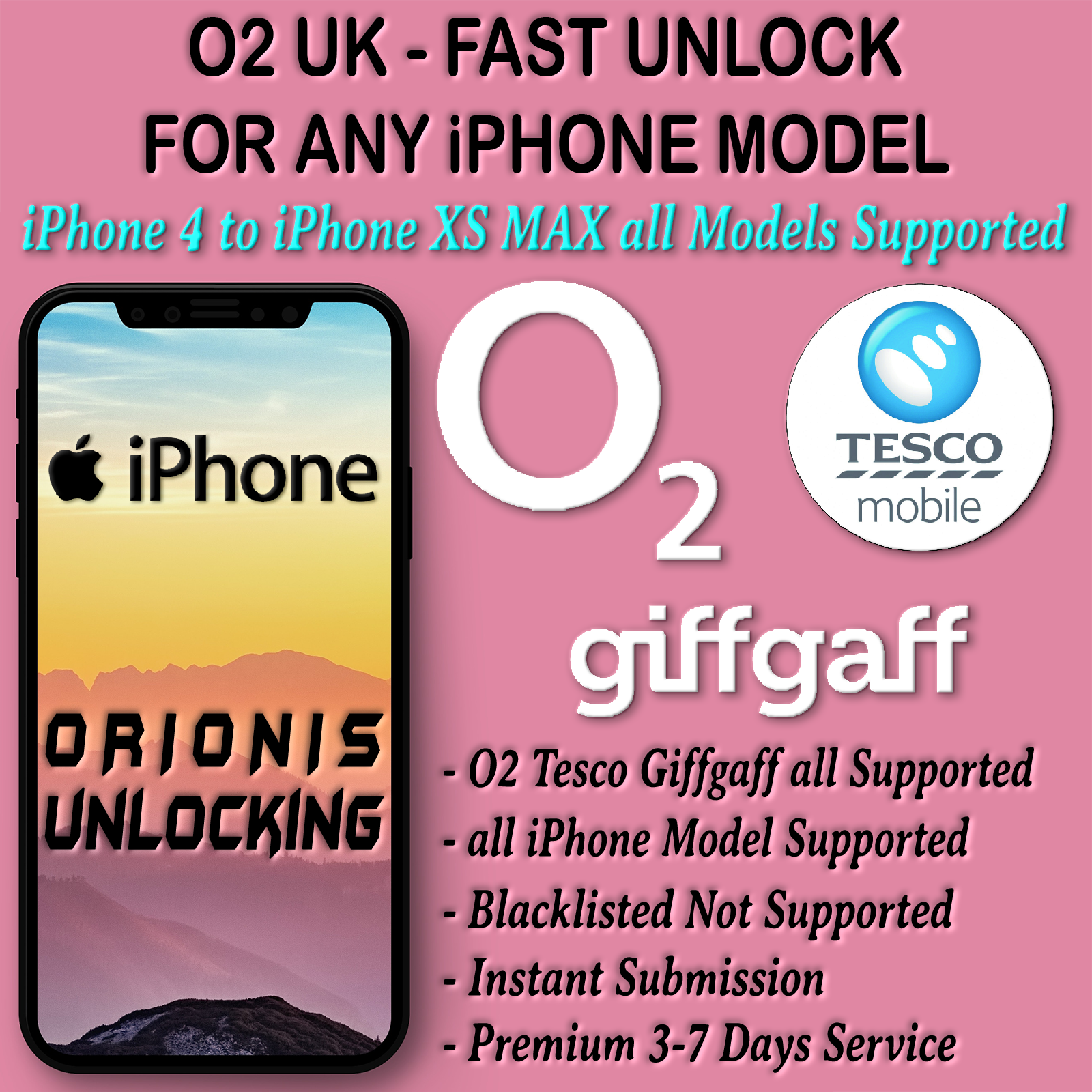 UK O2 Tesco GiffGaff iPhone (all iPhone Supported, 1-3 Days)